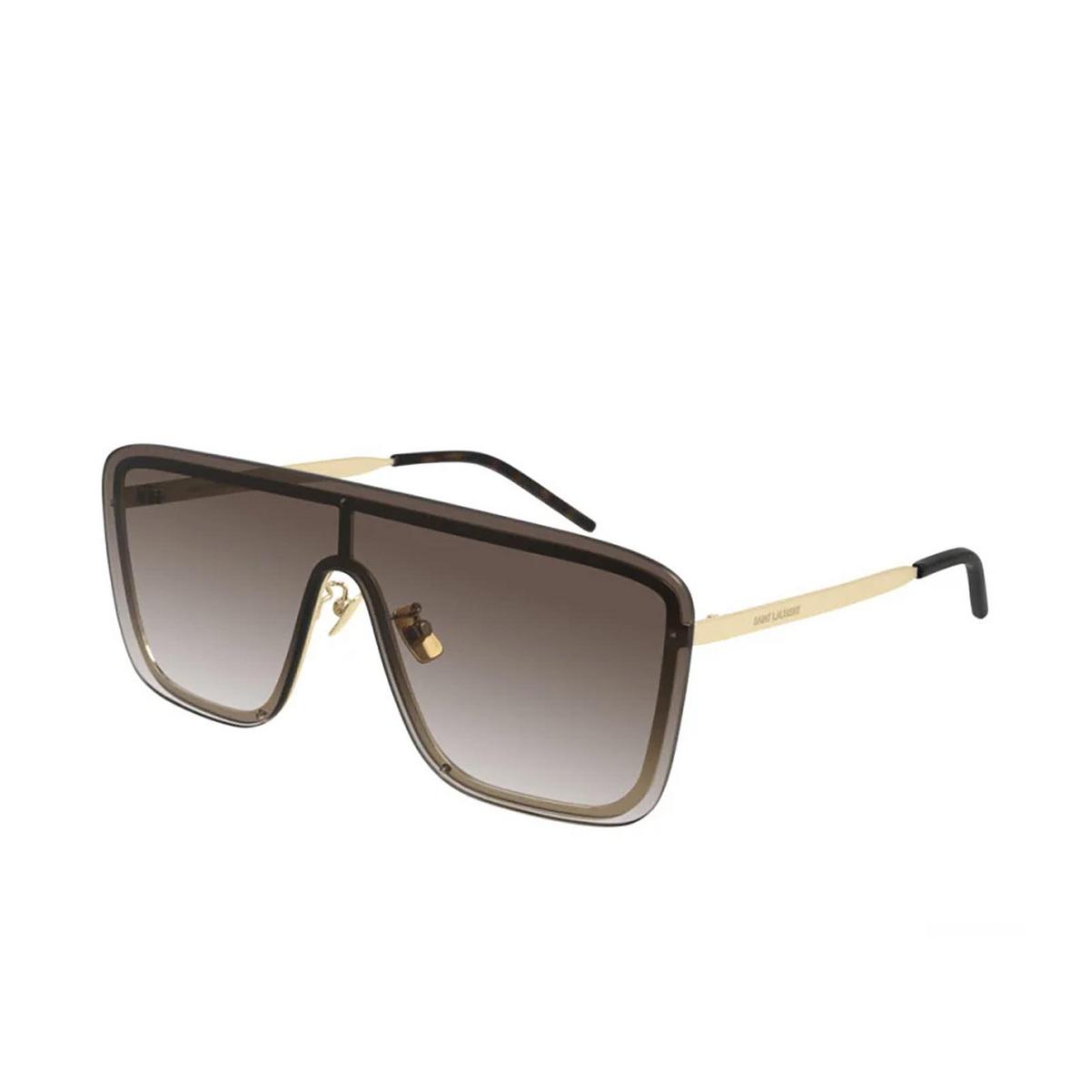 Saint Laurent® Mask Sunglasses: SL 364 MASK color Gold 006 - three-quarters view.