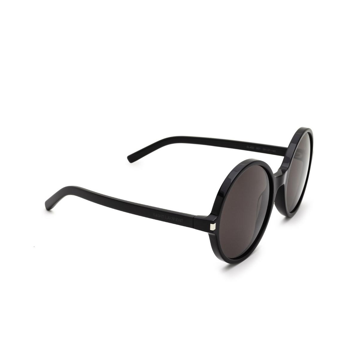 Saint Laurent® Round Sunglasses: SL 450 color Black 001 - three-quarters view.