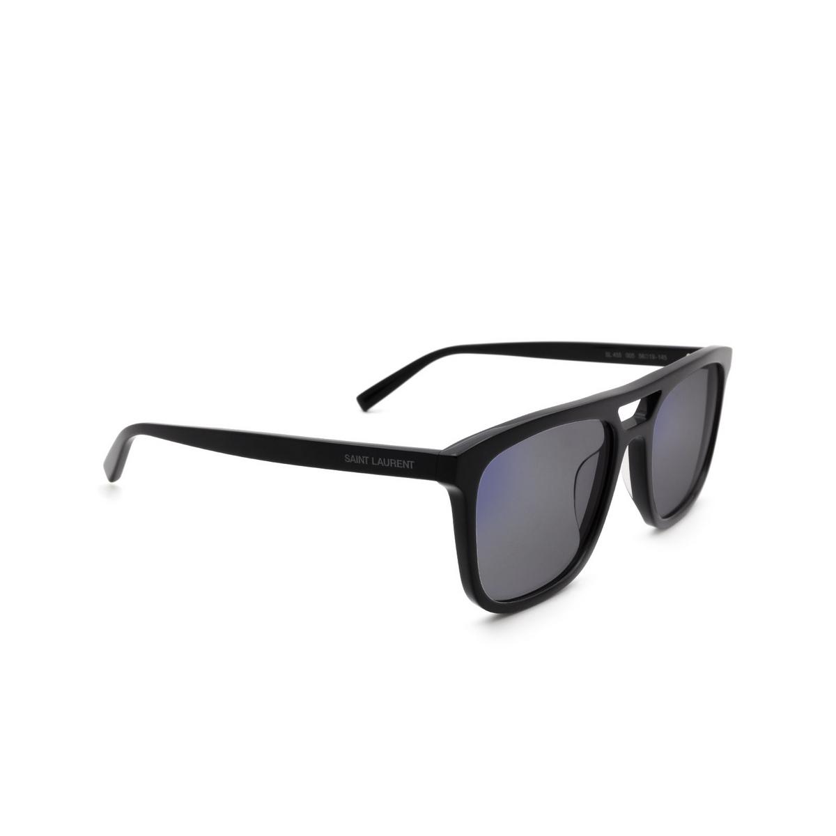 Saint Laurent® Rectangle Sunglasses: SL 455 color Black 005 - three-quarters view.