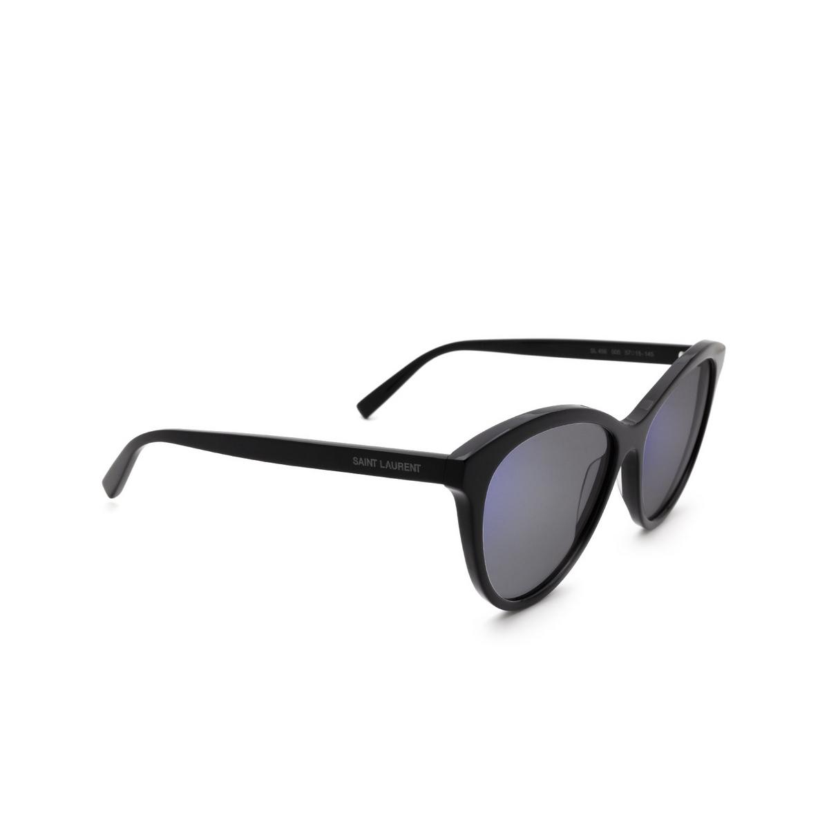 Saint Laurent® Cat-eye Sunglasses: SL 456 color Black 005 - three-quarters view.