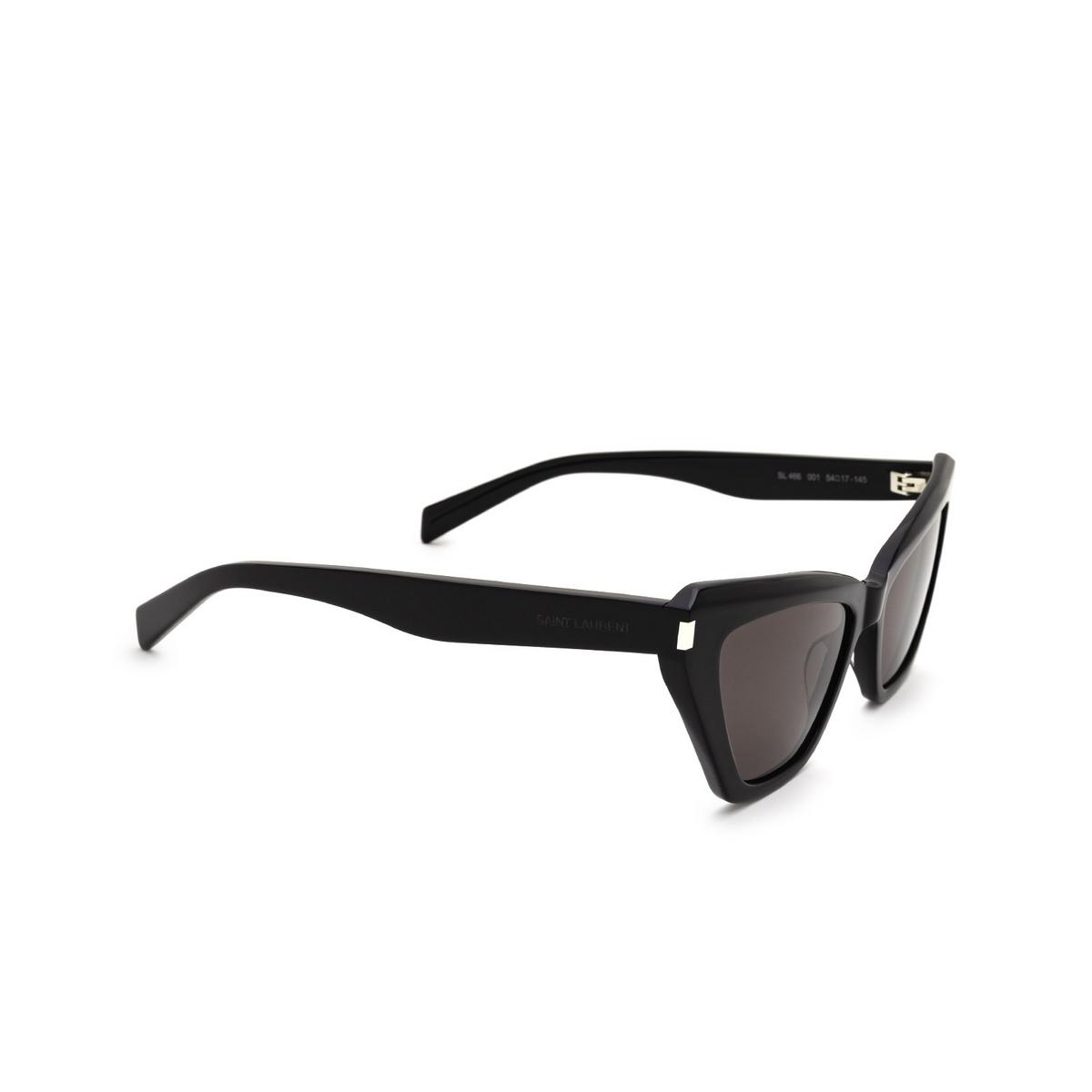 Saint Laurent® Cat-eye Sunglasses: SL 466 color Black 001 - three-quarters view.