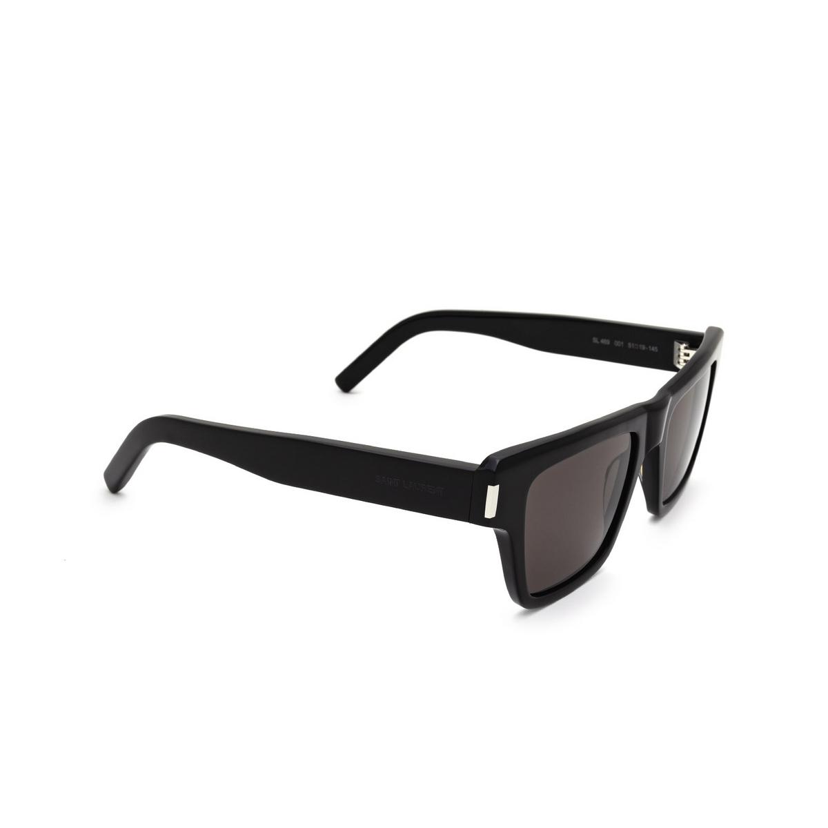 Saint Laurent® Rectangle Sunglasses: SL 469 color Black 001 - three-quarters view.