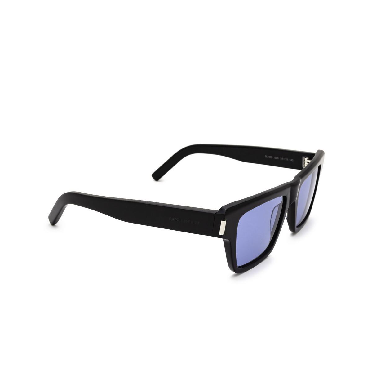 Saint Laurent® Rectangle Sunglasses: SL 469 color Black 005 - three-quarters view.