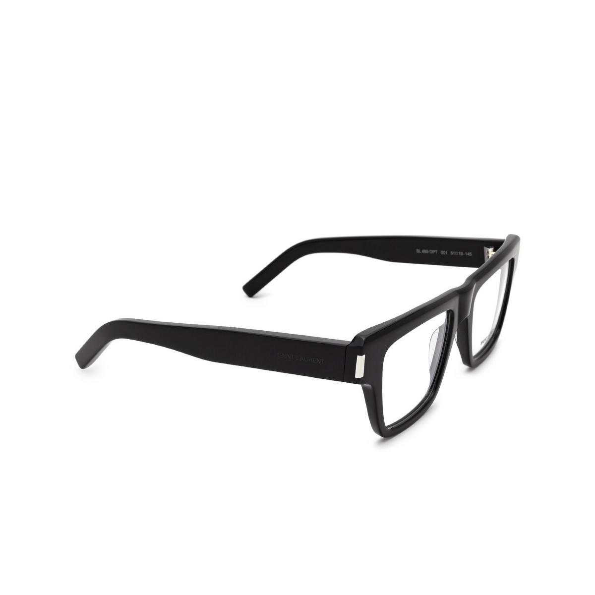 Saint Laurent® Rectangle Eyeglasses: SL 469 OPT color Black 001 - three-quarters view.
