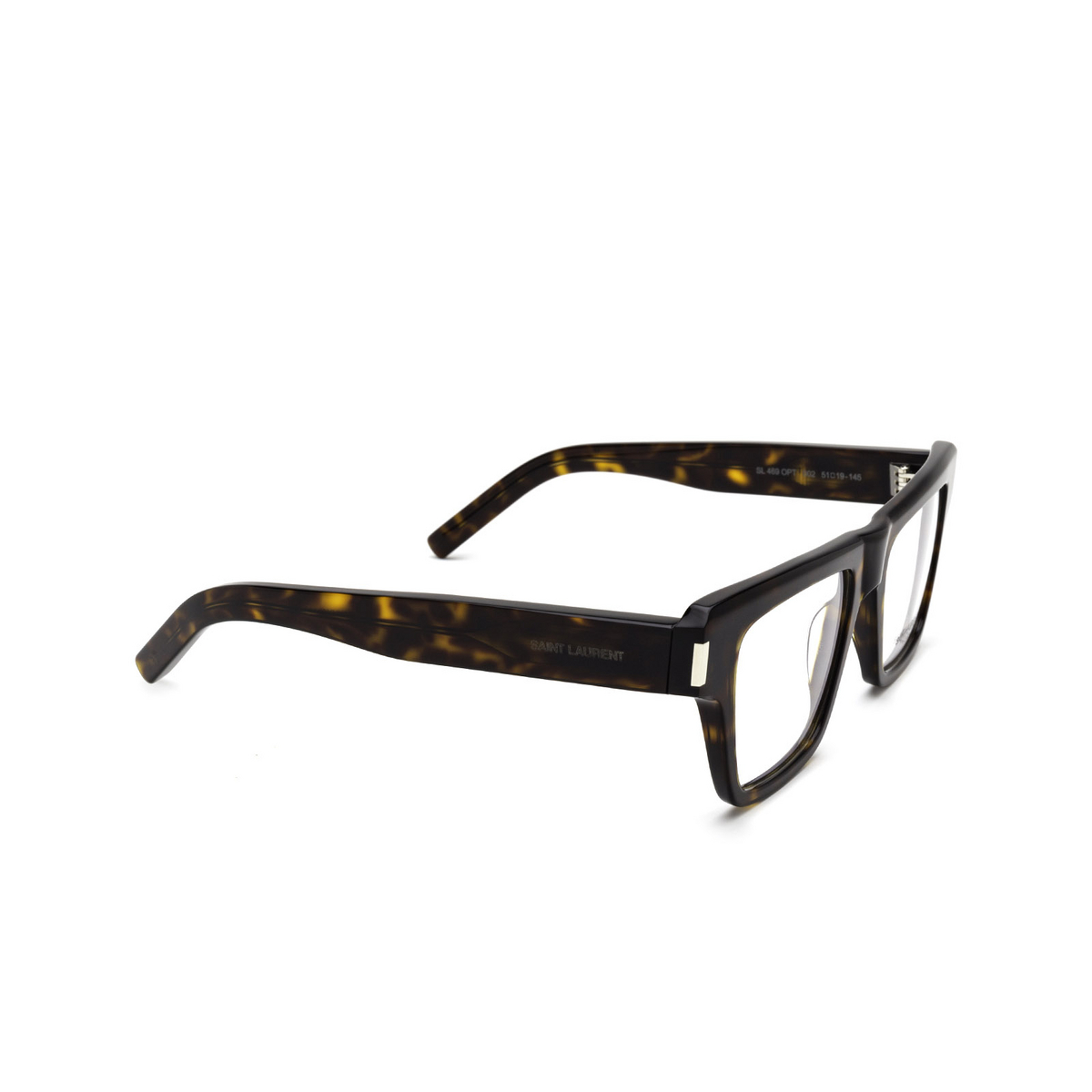 Saint Laurent® Rectangle Eyeglasses: SL 469 OPT color Havana 002 - three-quarters view.