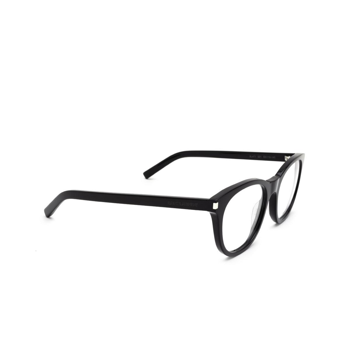 Saint Laurent® Square Eyeglasses: SL 471 color Black 001 - three-quarters view.