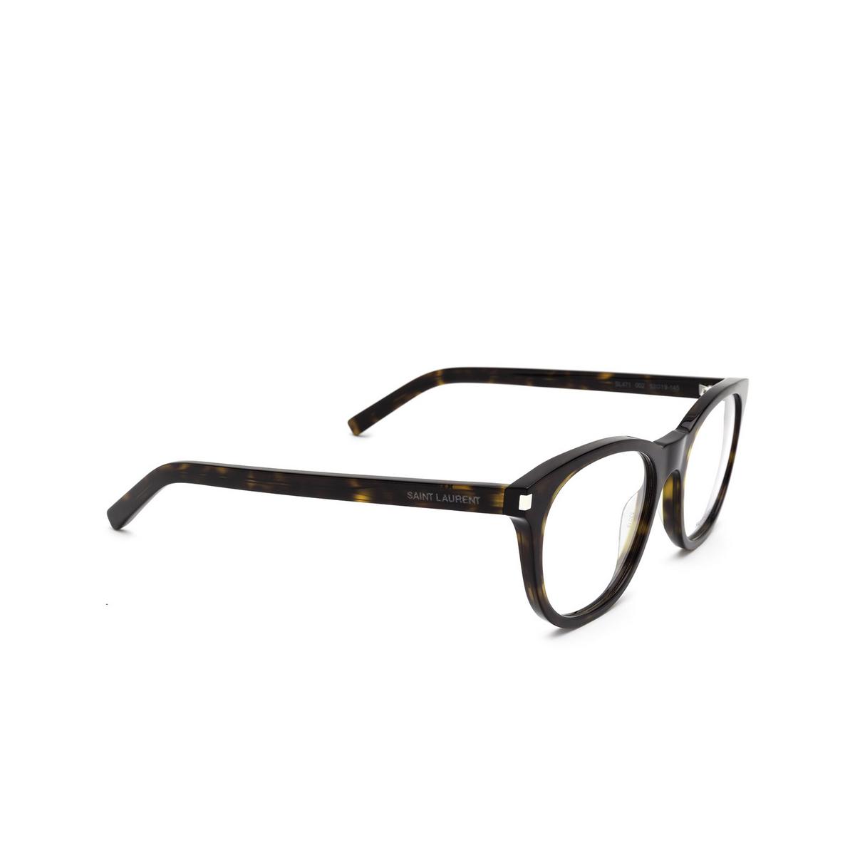 Saint Laurent® Square Eyeglasses: SL 471 color Havana 002 - three-quarters view.