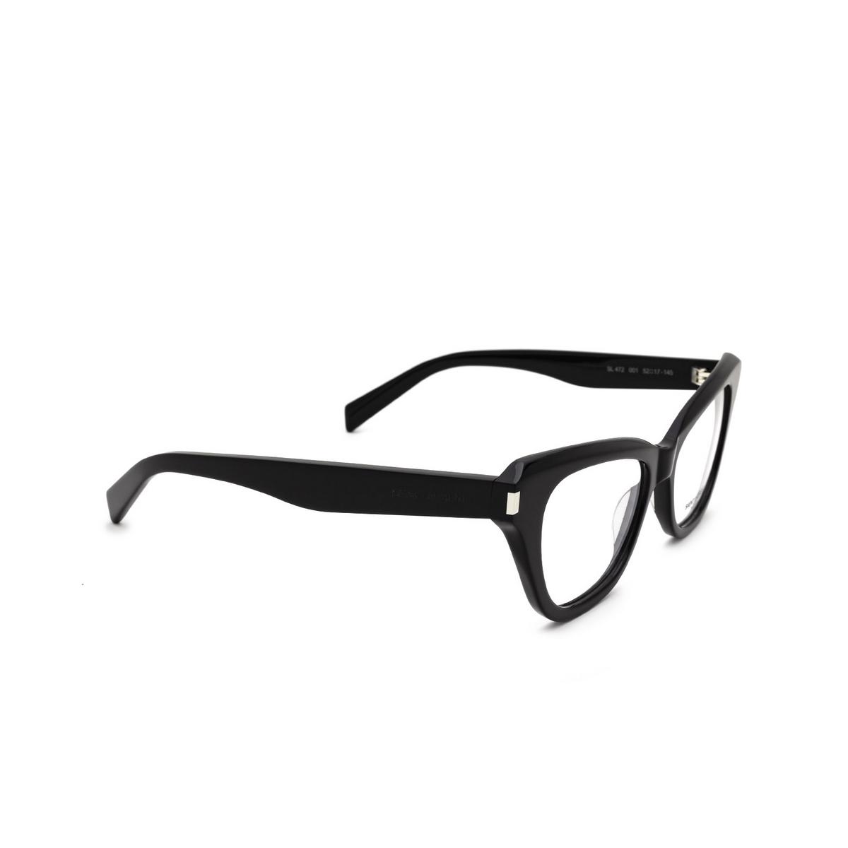 Saint Laurent® Cat-eye Eyeglasses: SL 472 color Black 001 - three-quarters view.