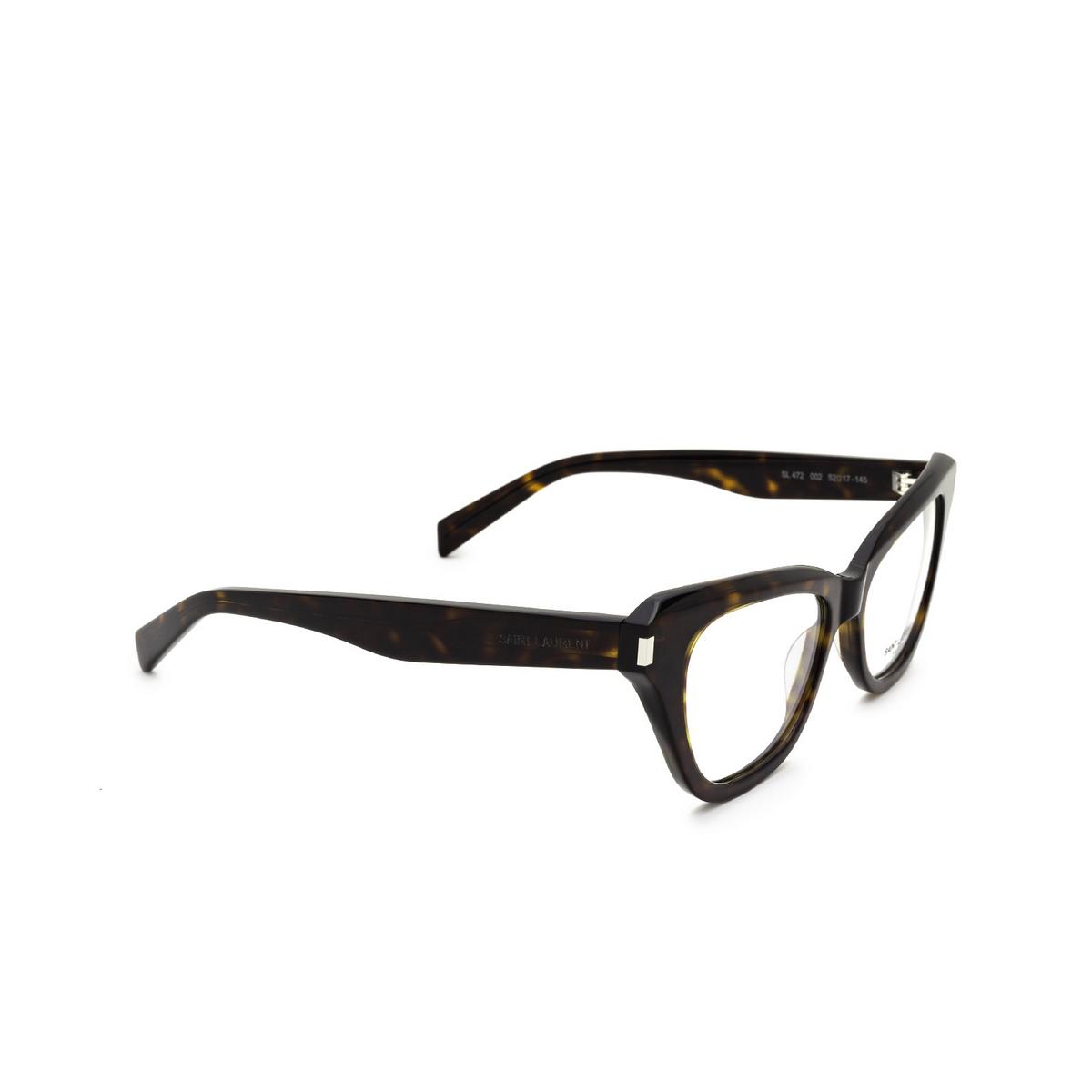 Saint Laurent® Cat-eye Eyeglasses: SL 472 color Dark Havana 002 - three-quarters view.