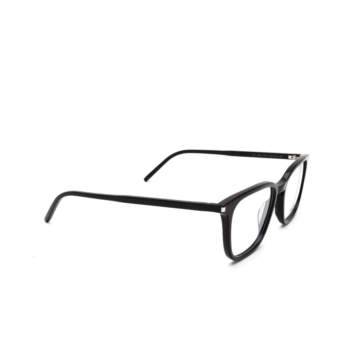 Saint Laurent® Square Eyeglasses: SL 479 color Black 001 - three-quarters view.