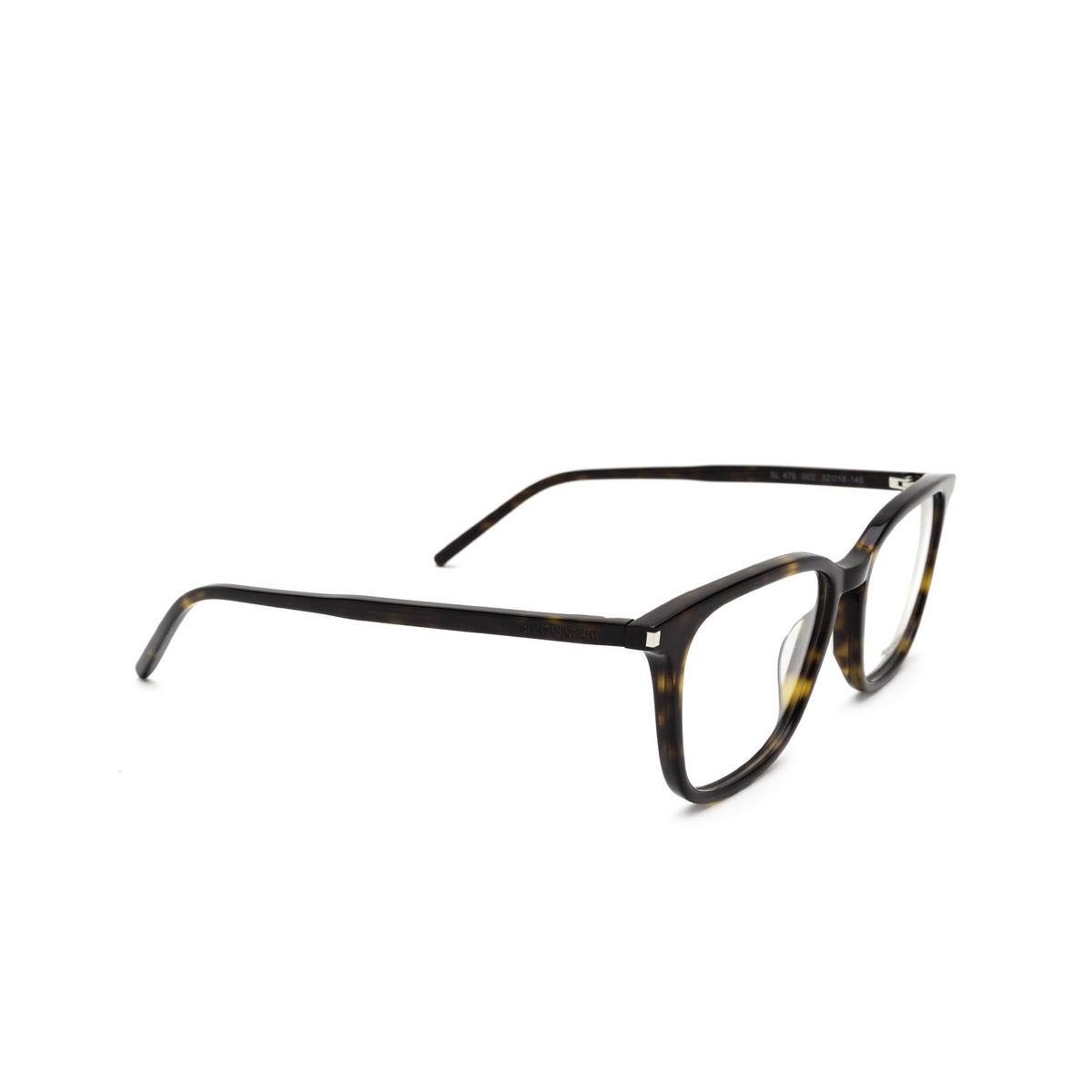 Saint Laurent® Square Eyeglasses: SL 479 color Dark Havana 002 - three-quarters view.