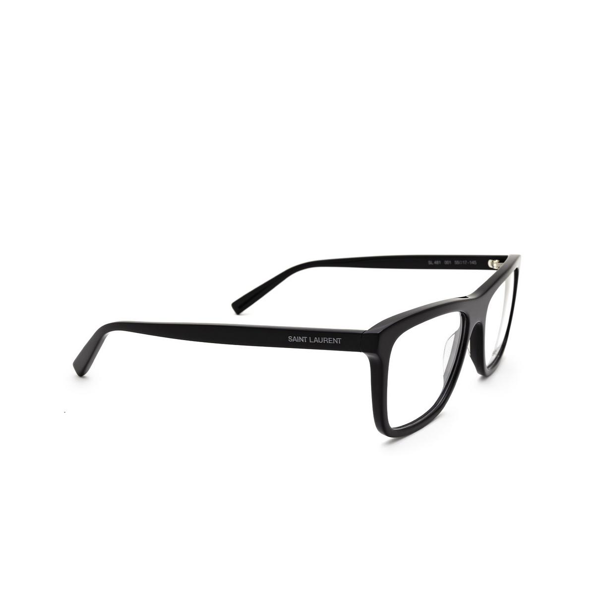 Saint Laurent® Rectangle Eyeglasses: SL 481 color Black 001 - three-quarters view.