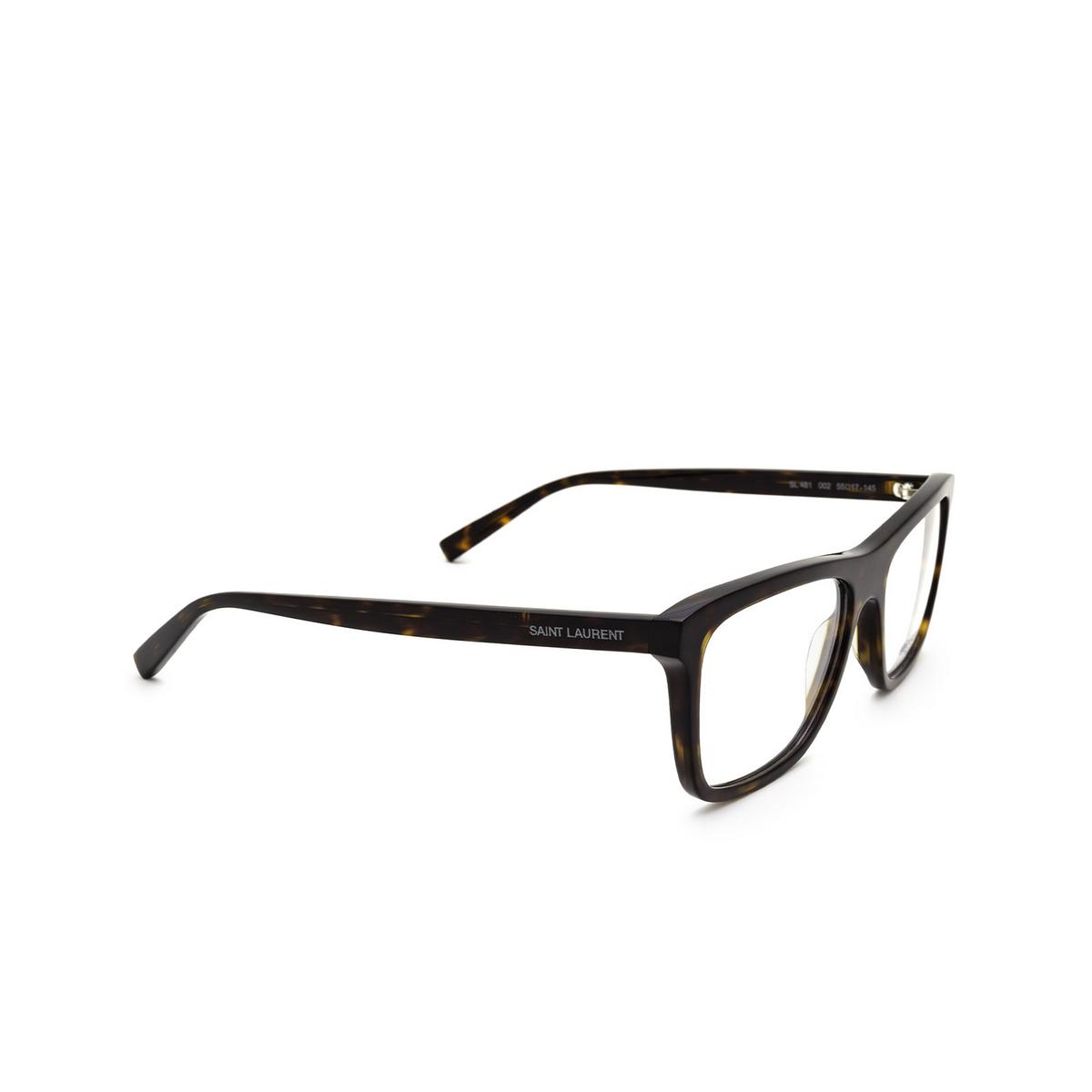 Saint Laurent® Rectangle Eyeglasses: SL 481 color Dark Havana 002 - three-quarters view.