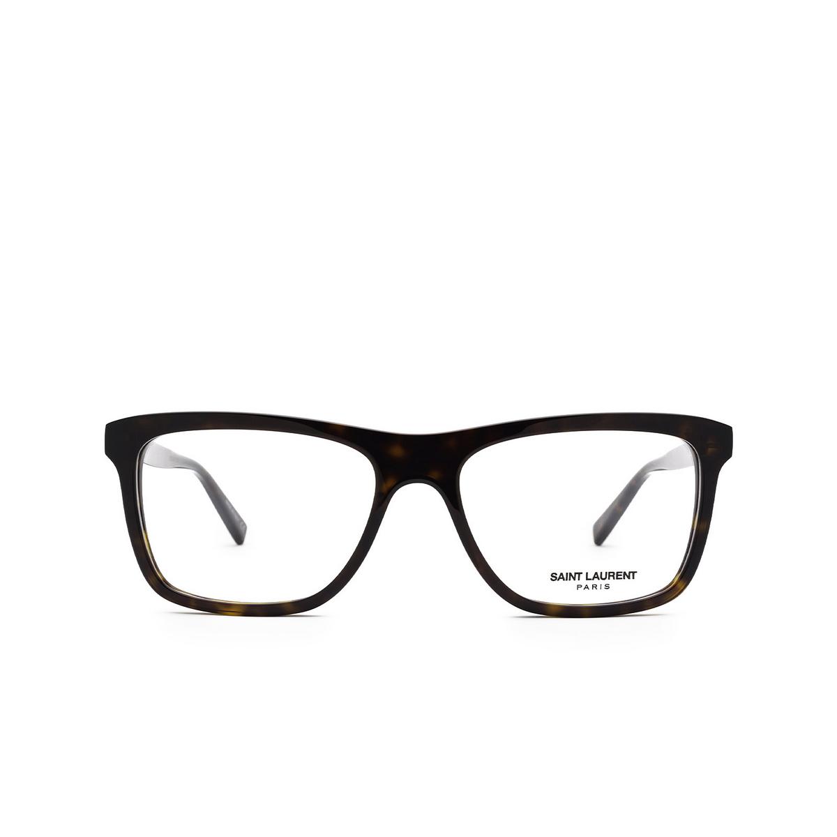 Saint Laurent® Rectangle Eyeglasses: SL 481 color Dark Havana 002 - front view.