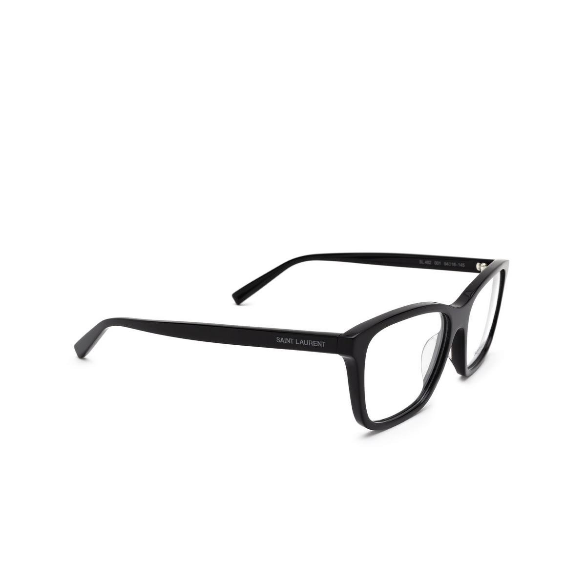 Saint Laurent® Rectangle Eyeglasses: SL 482 color Black 001 - three-quarters view.