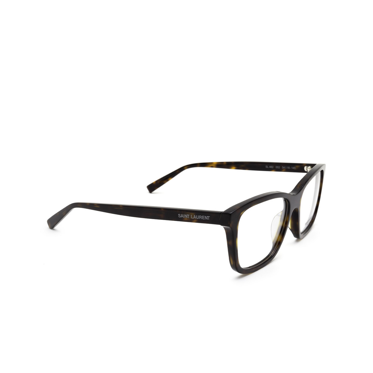 Saint Laurent® Rectangle Eyeglasses: SL 482 color Havana 002 - three-quarters view.