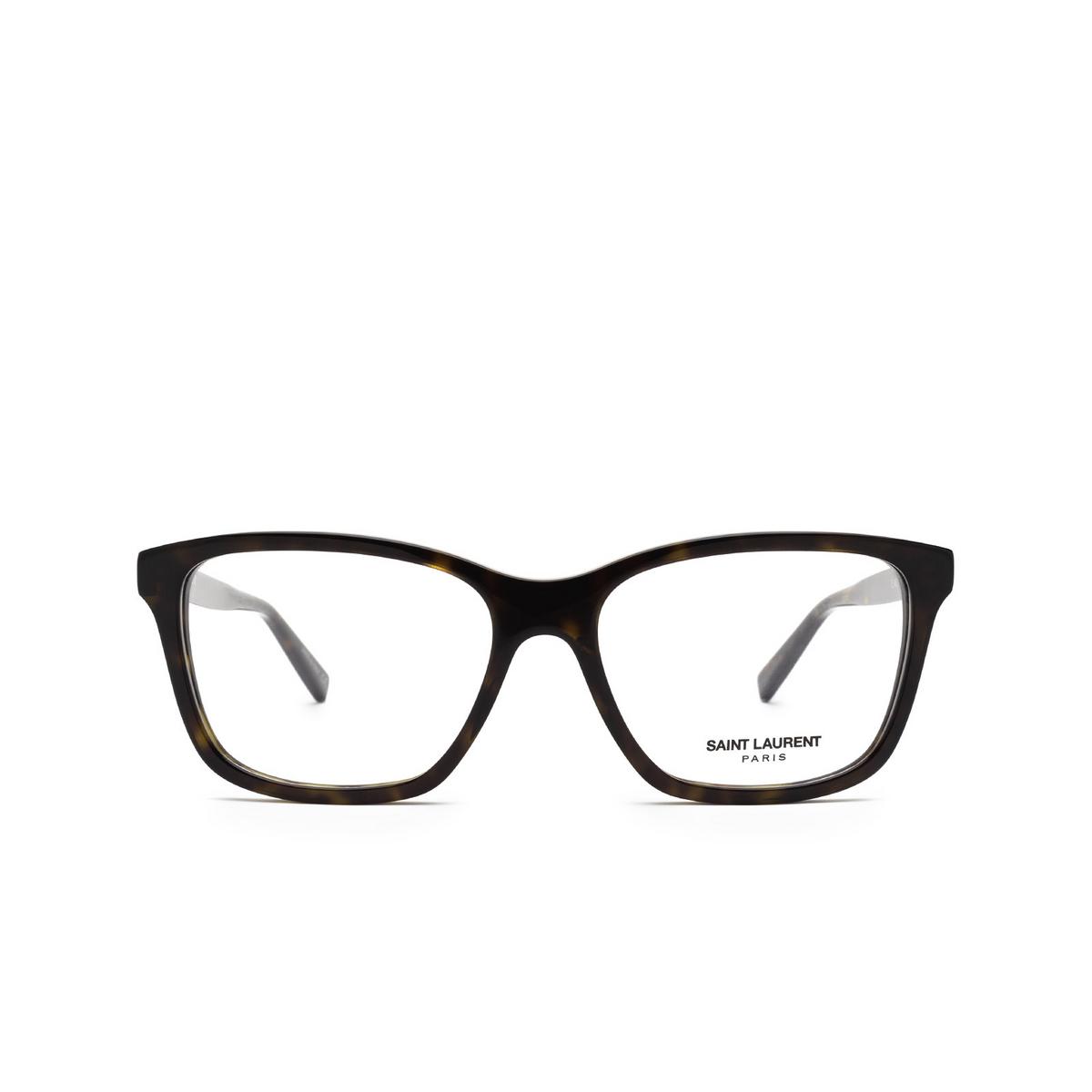 Saint Laurent® Rectangle Eyeglasses: SL 482 color Havana 002 - front view.