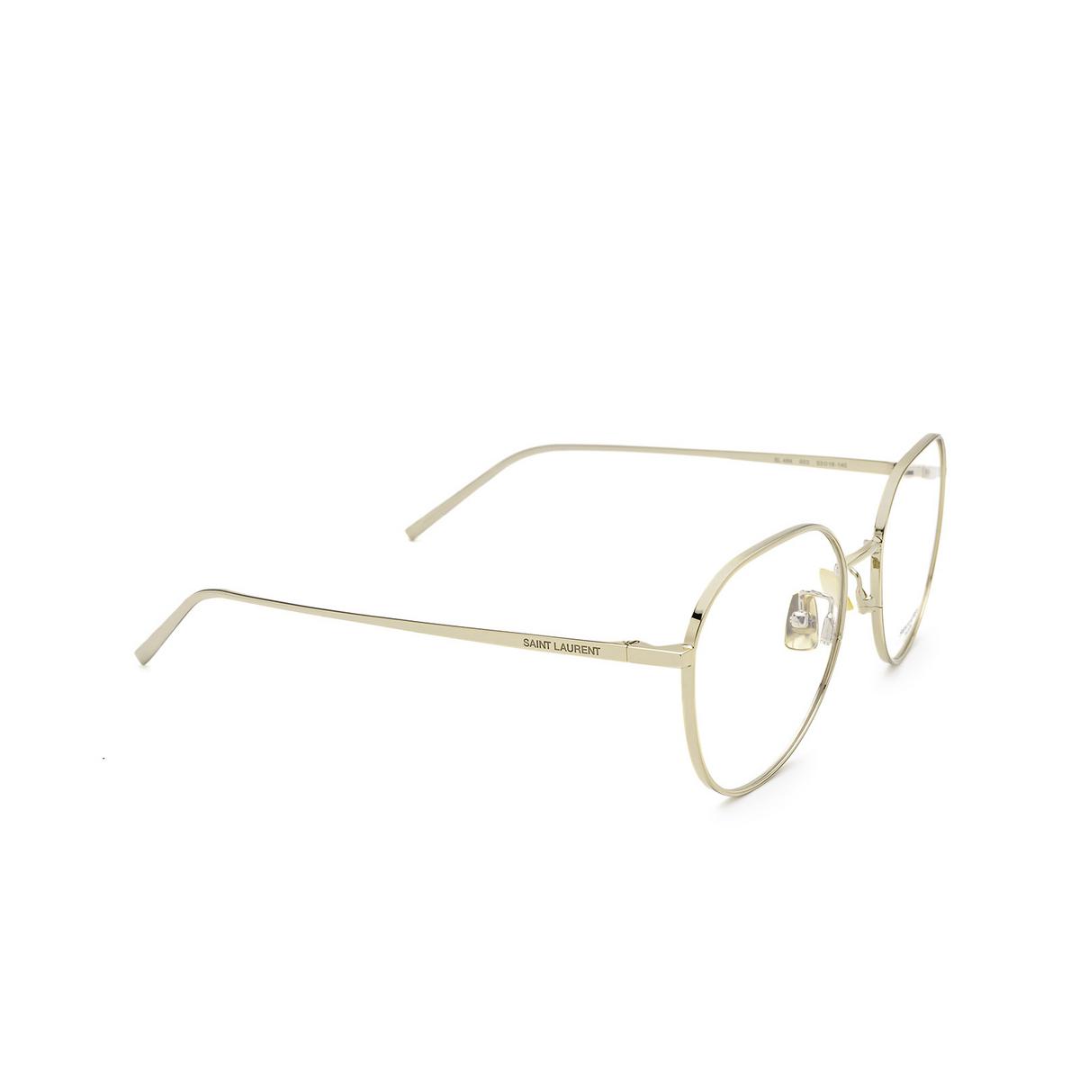 Saint Laurent® Round Eyeglasses: SL 484 color Gold 003 - three-quarters view.