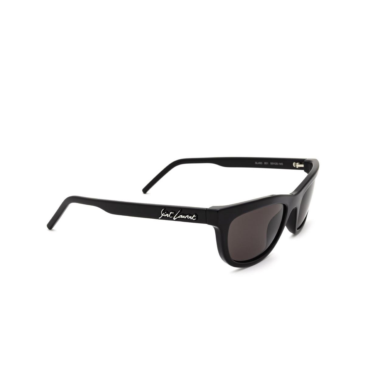 Saint Laurent® Cat-eye Sunglasses: SL 493 color Black 001 - three-quarters view.