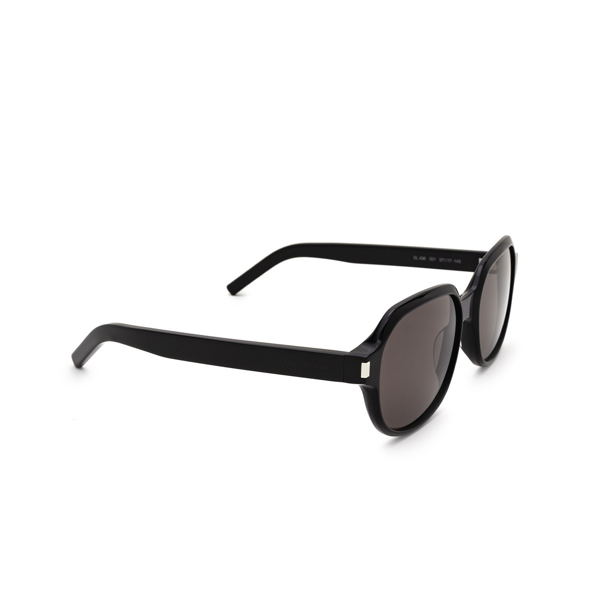 Saint Laurent® Square Sunglasses: SL 496 color Black 001 - three-quarters view.