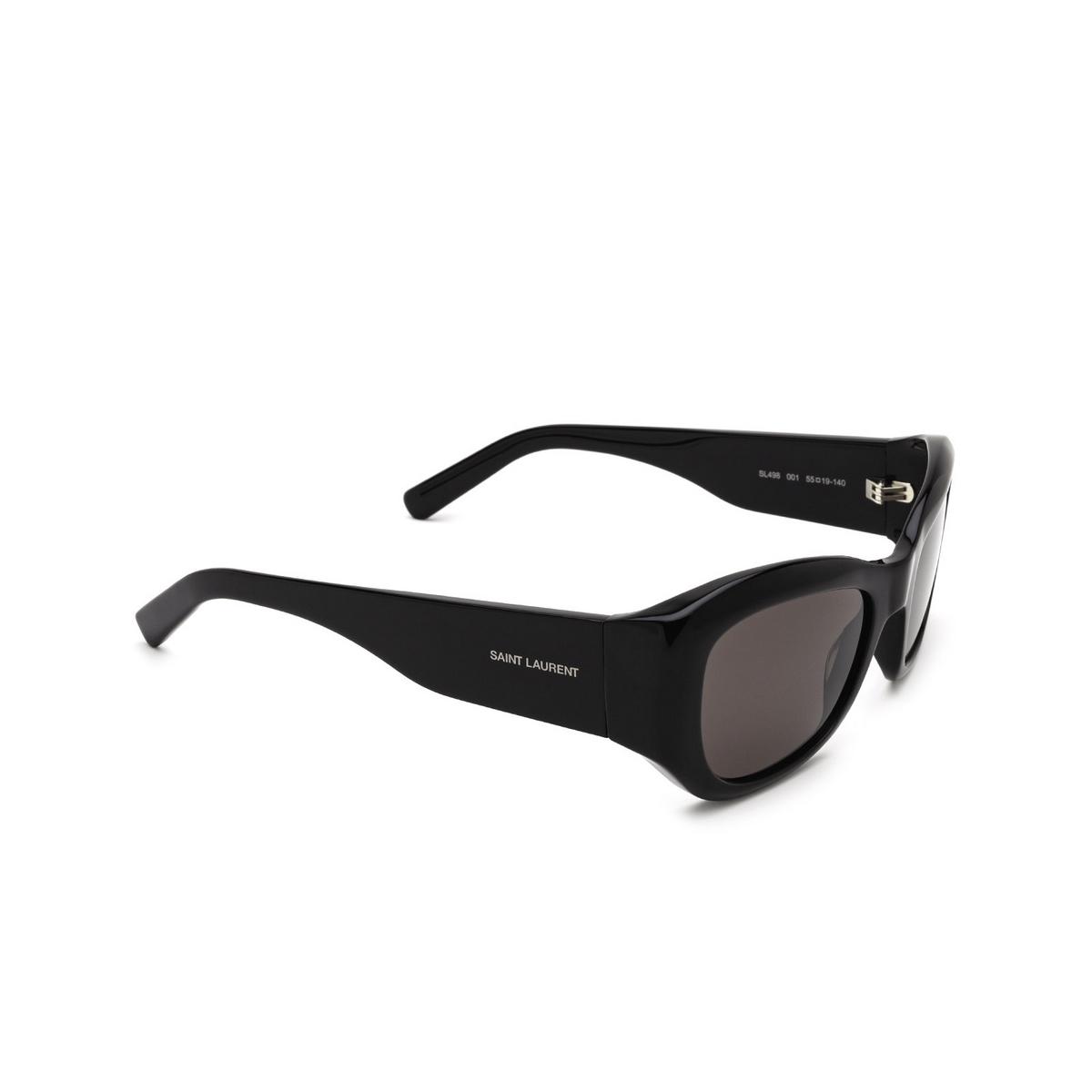 Saint Laurent® Rectangle Sunglasses: SL 498 color Black 001 - three-quarters view.