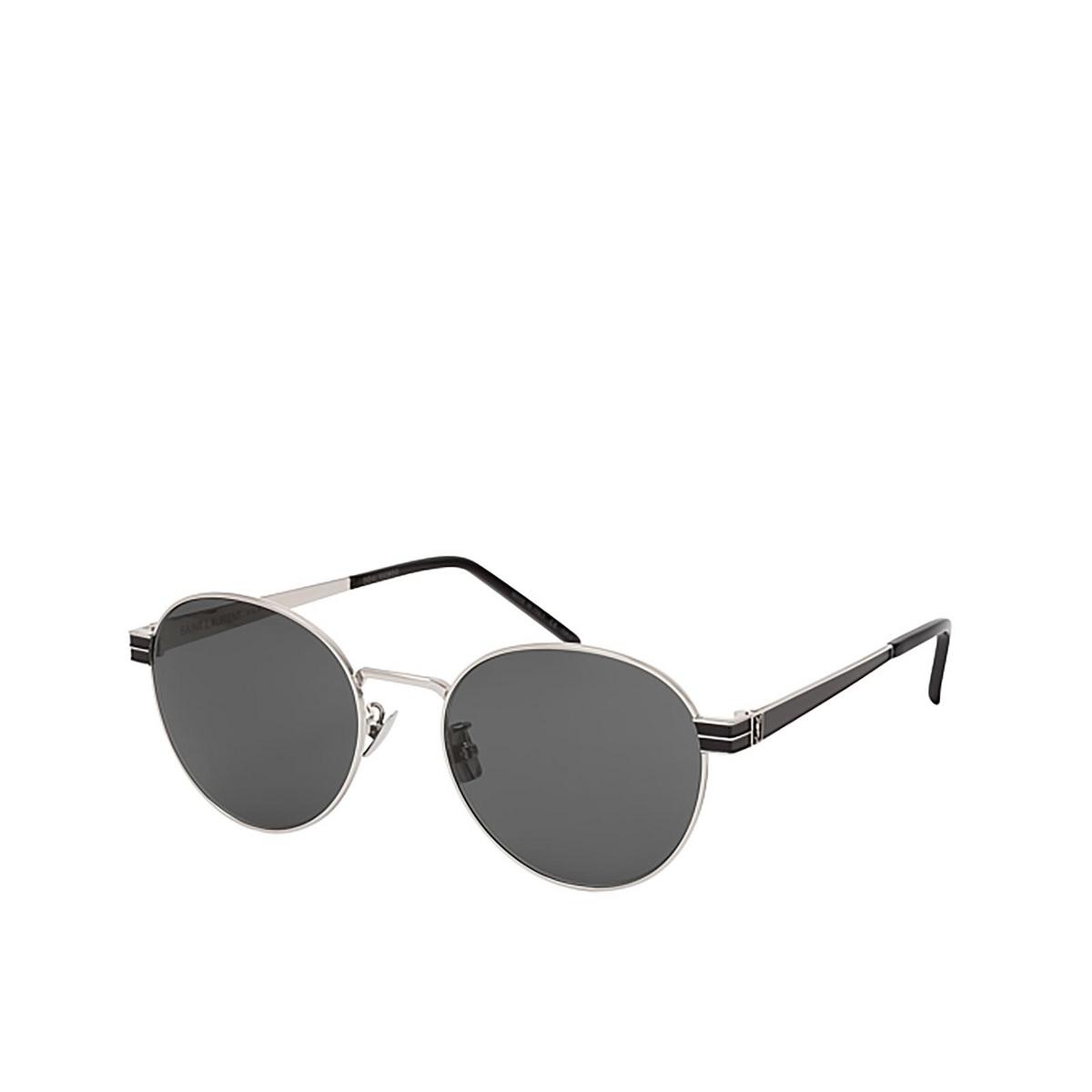 Saint Laurent® Round Sunglasses: SL M65 color Silver 001 - three-quarters view.