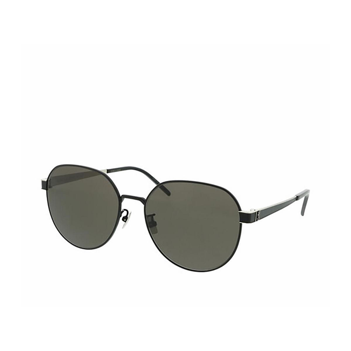 Saint Laurent® Round Sunglasses: SL M66 color Black 002 - three-quarters view.