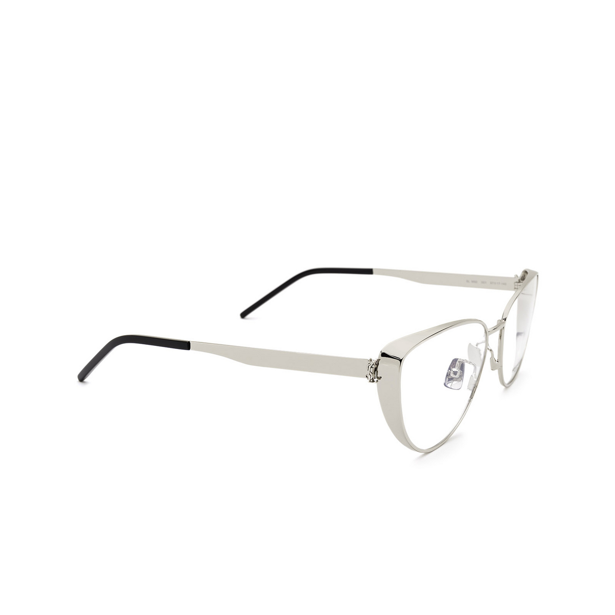 Saint Laurent® Cat-eye Eyeglasses: SL M92 color Silver 001 - three-quarters view.