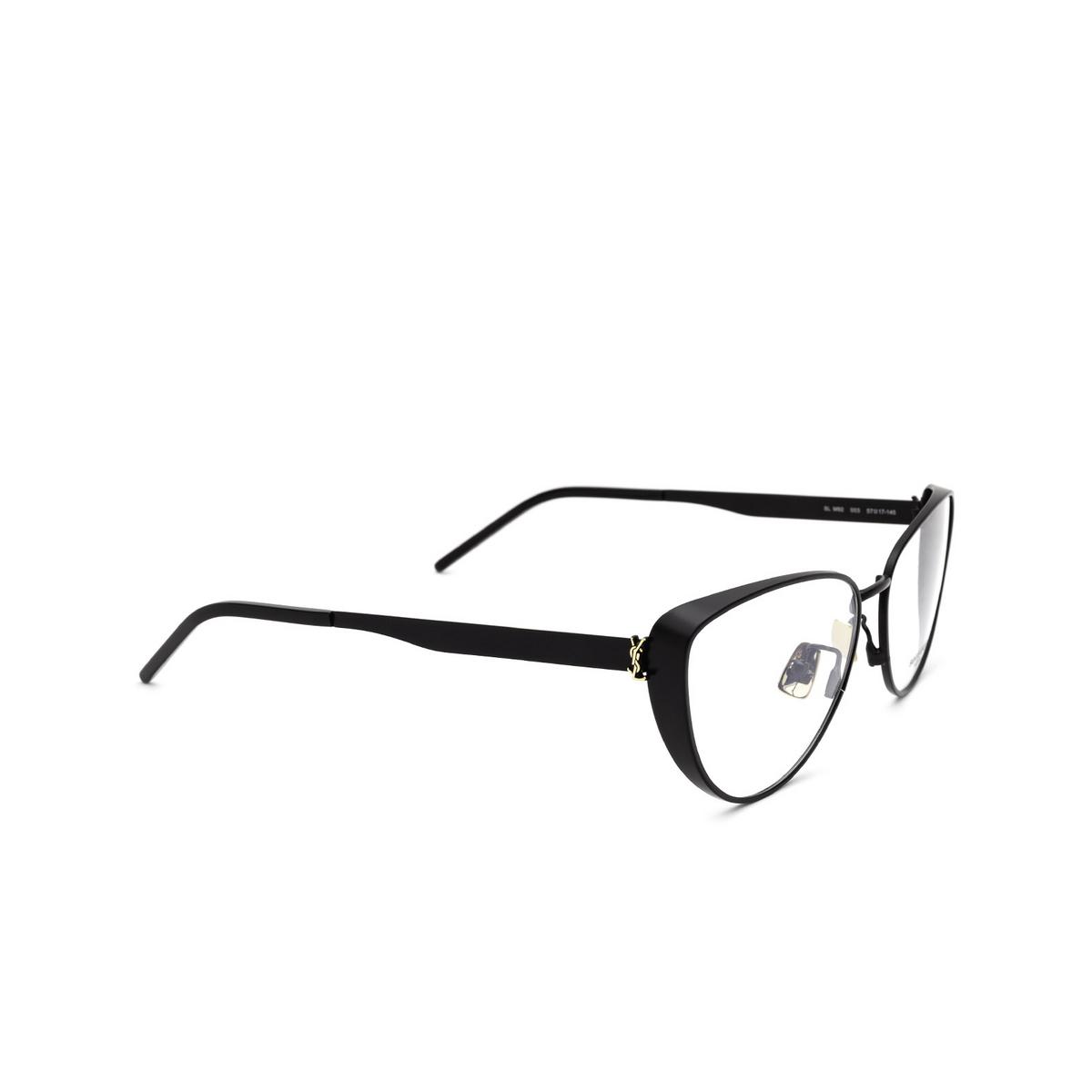 Saint Laurent® Cat-eye Eyeglasses: SL M92 color Black 003 - three-quarters view.