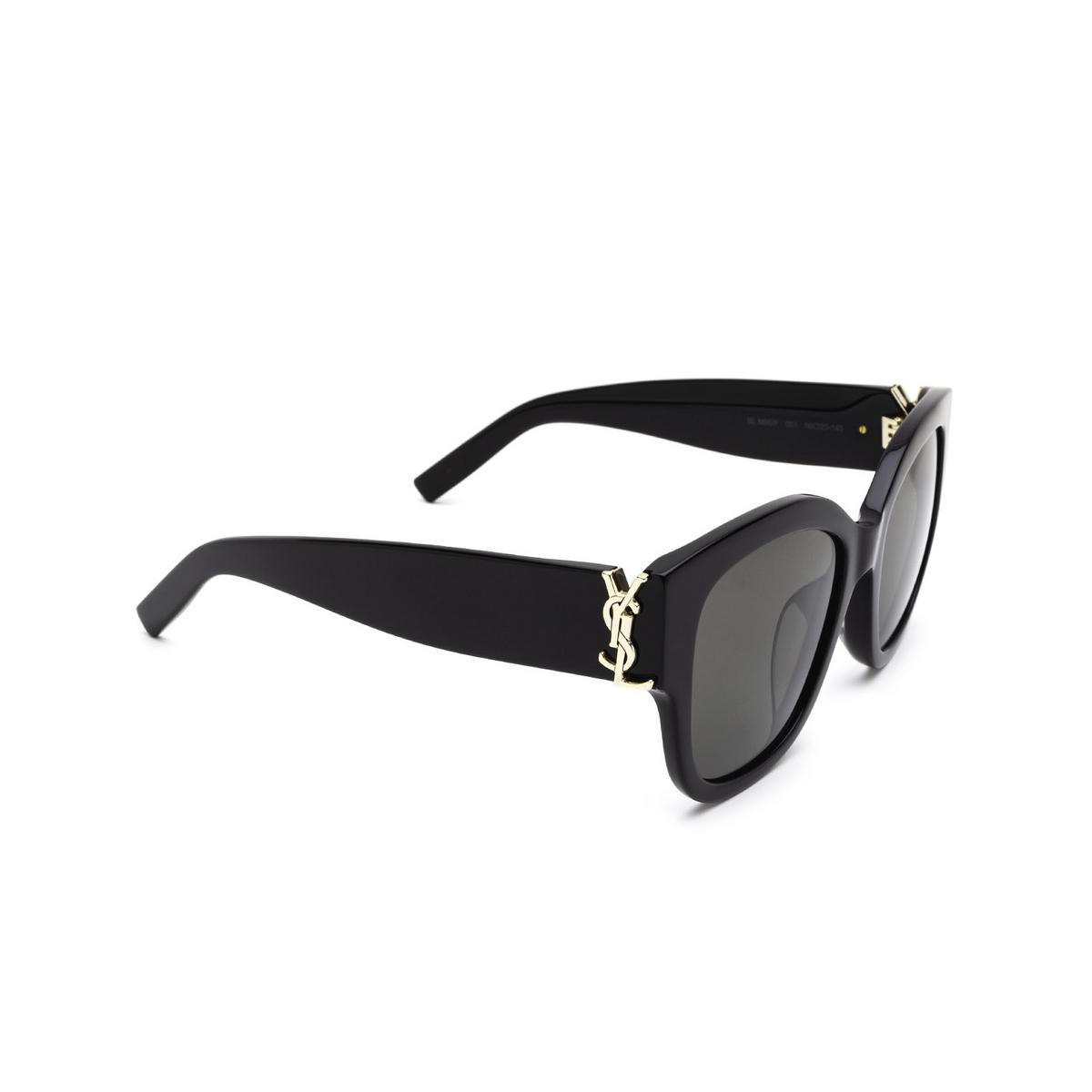 Saint Laurent® Butterfly Sunglasses: SL M95/F color Black 001 - three-quarters view.