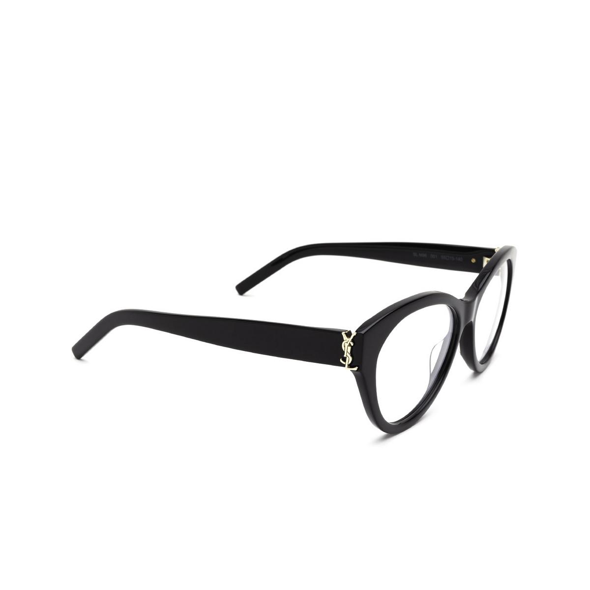 Saint Laurent® Cat-eye Eyeglasses: SL M96 color Black 001 - three-quarters view.