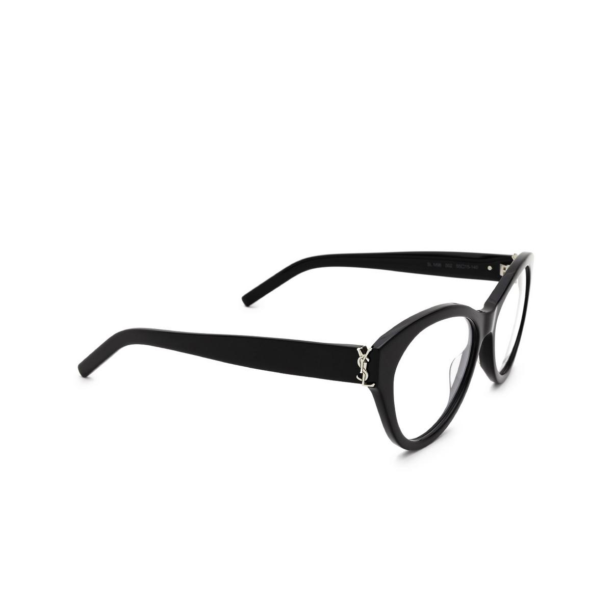 Saint Laurent® Cat-eye Eyeglasses: SL M96 color Black 002 - three-quarters view.