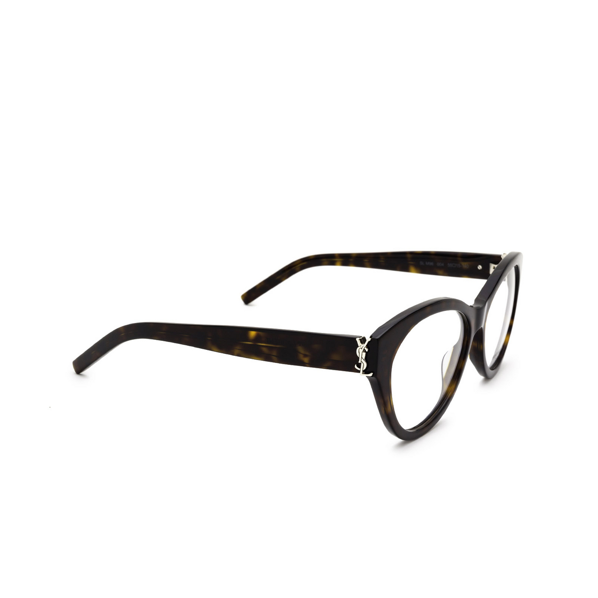 Saint Laurent® Cat-eye Eyeglasses: SL M96 color Dark Havana 004 - three-quarters view.