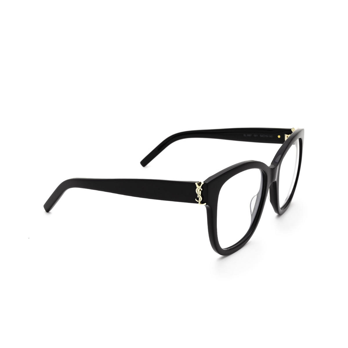 Saint Laurent® Square Eyeglasses: SL M97 color Black 001 - three-quarters view.