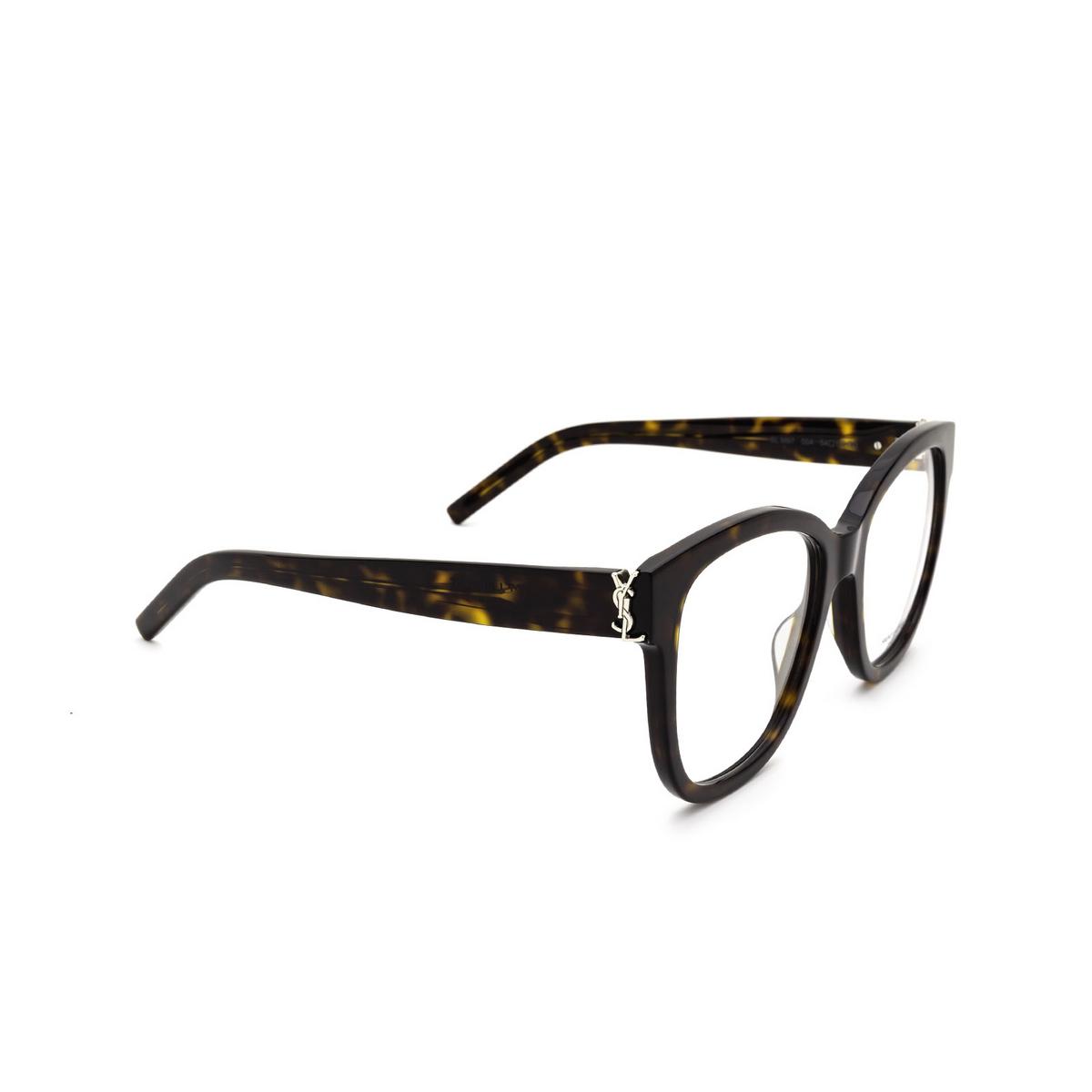 Saint Laurent® Square Eyeglasses: SL M97 color Dark Havana 004 - three-quarters view.