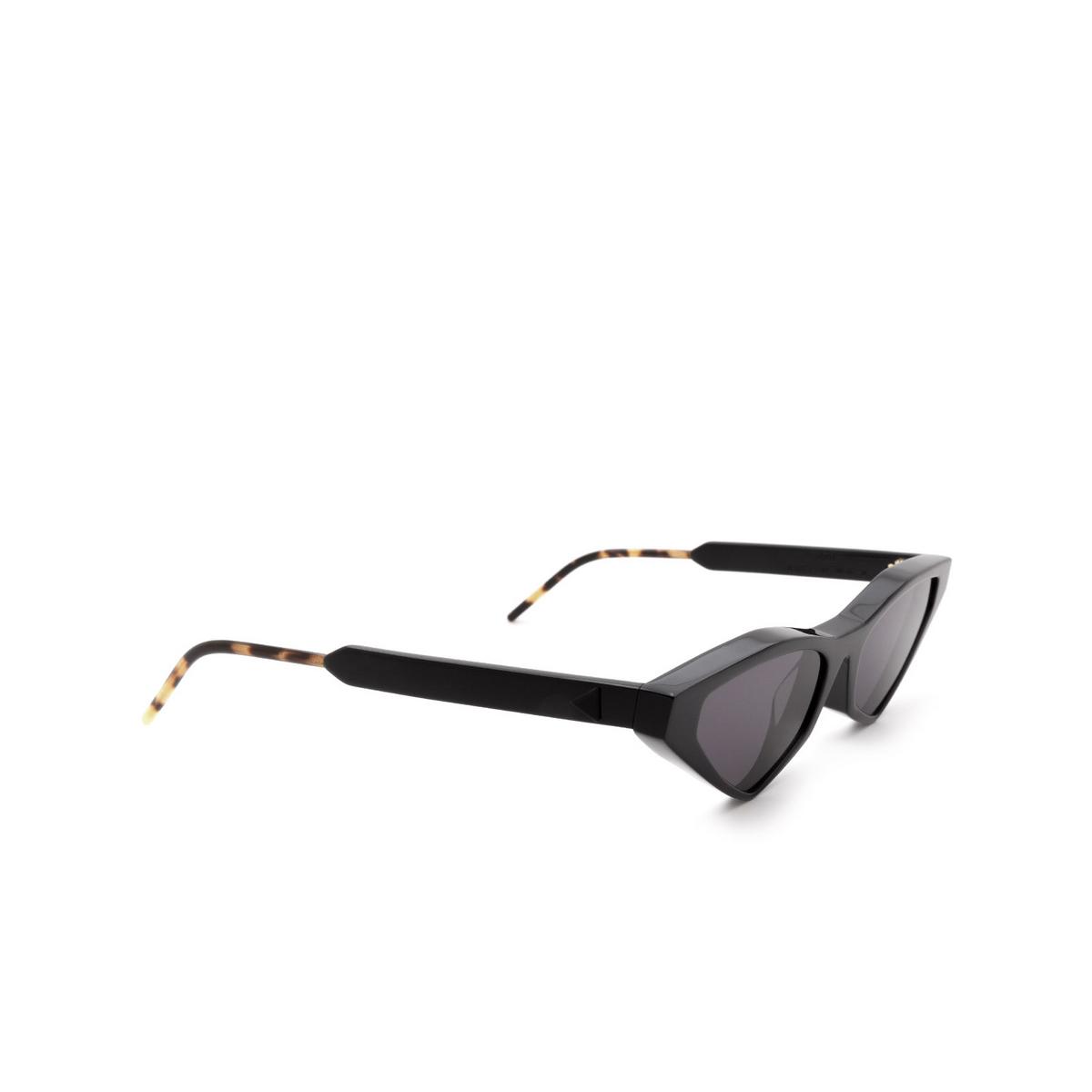Soya® Cat-eye Sunglasses: Ann color Shiny Black Blk-fs - three-quarters view.