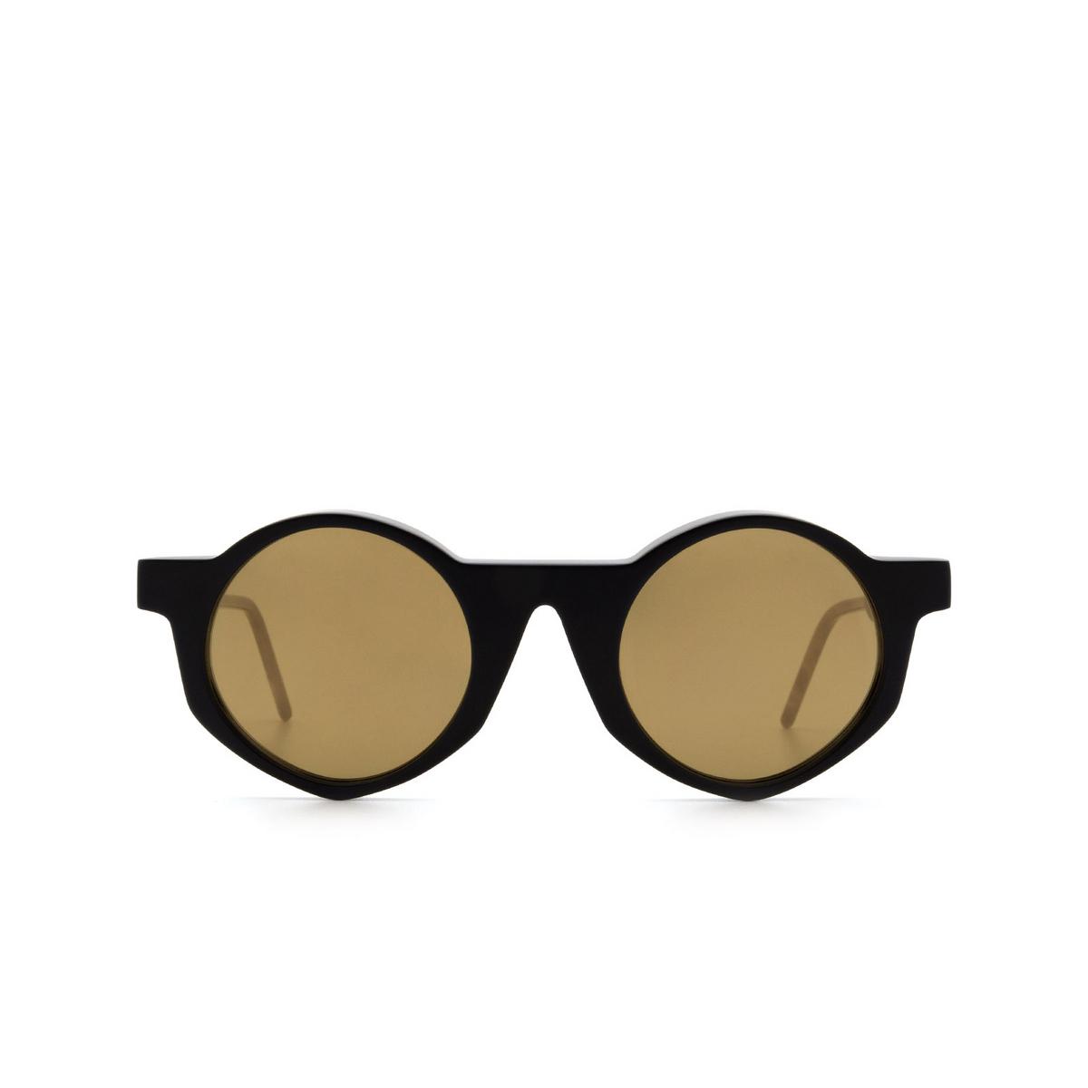Soya® Round Sunglasses: Off color Matte Black Bkm-g - front view.