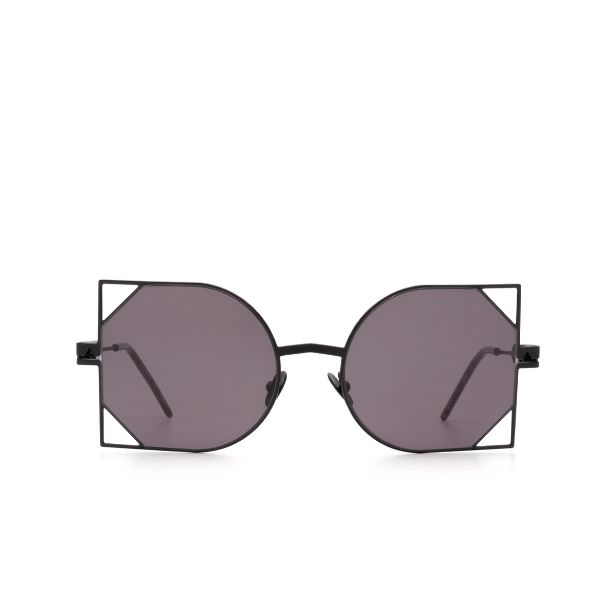 Soya® Irregular Sunglasses: Rania color Matte Black & Shiny Gold Bkg-fs.