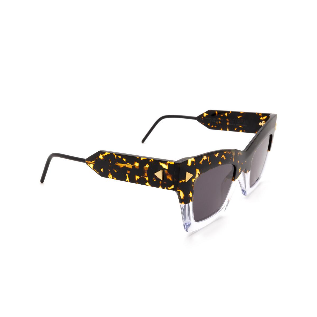 Soya® Square Sunglasses: Victoria color Shiny Havana & Crystal Hsc-fs - three-quarters view.