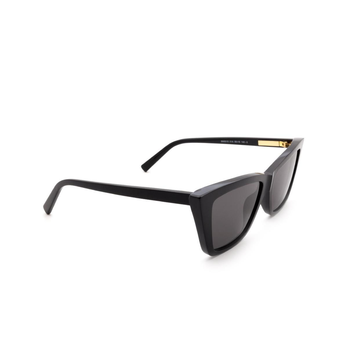 Sportmax® Butterfly Sunglasses: SM0015 color Shiny Black 01A - three-quarters view.