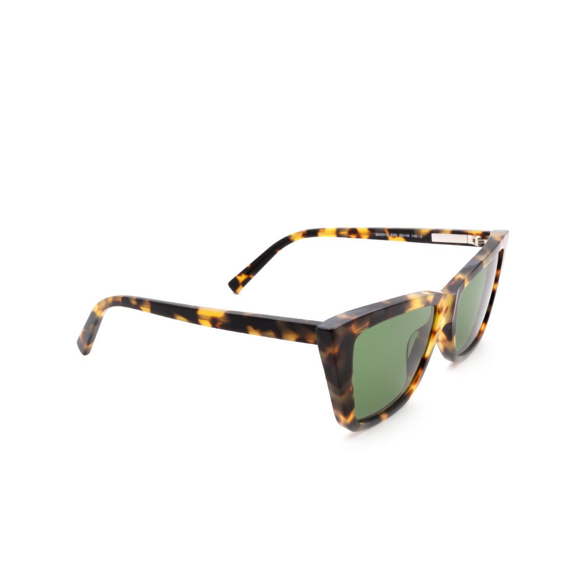 Sportmax® Butterfly Sunglasses: SM0015 color Dark Havana 52N - three-quarters view.