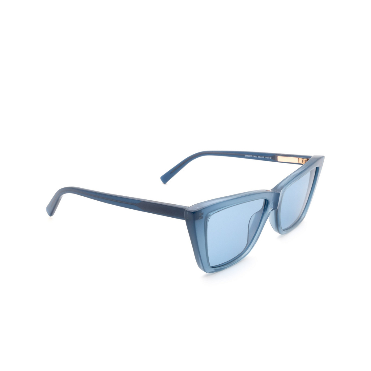 Sportmax® Butterfly Sunglasses: SM0015 color Shiny Blue 90V - three-quarters view.