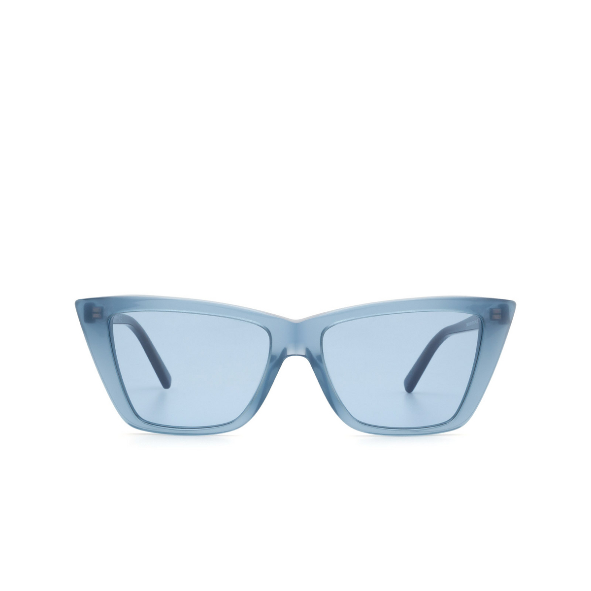 Sportmax® Butterfly Sunglasses: SM0015 color Shiny Blue 90V - front view.