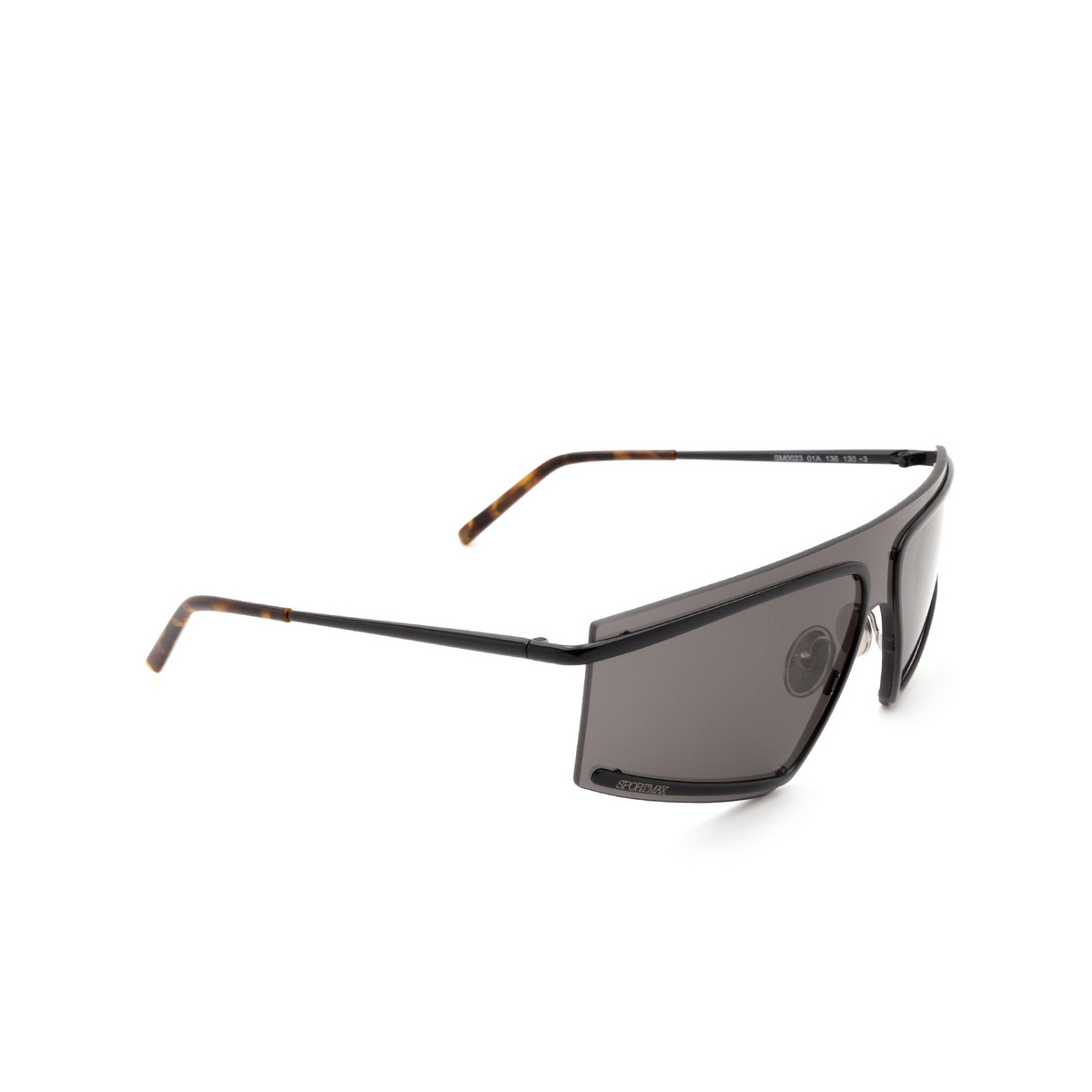 Sportmax® Mask Sunglasses: SM0023 color Shiny Black 01A - three-quarters view.