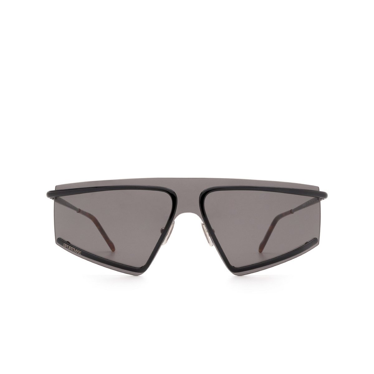 Sportmax® Mask Sunglasses: SM0023 color Shiny Black 01A - front view.