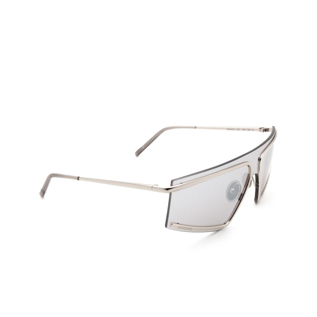Sportmax® Mask Sunglasses: SM0023 color Shiny Palladium 16C - three-quarters view.