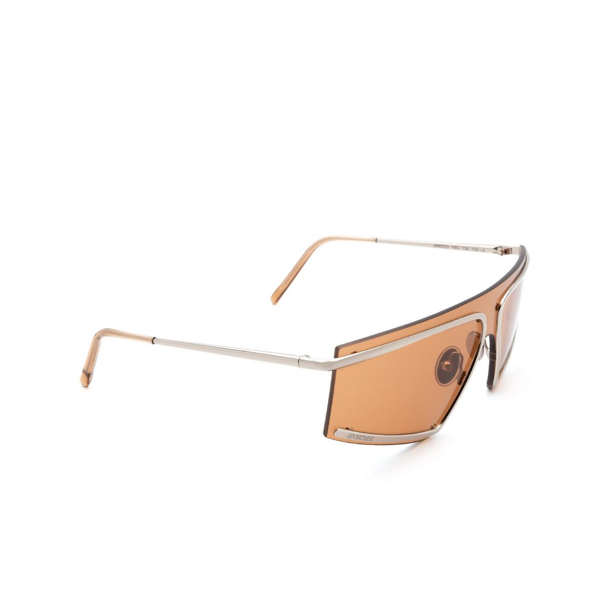Sportmax® Mask Sunglasses: SM0023 color Shiny Palladium 16G - three-quarters view.
