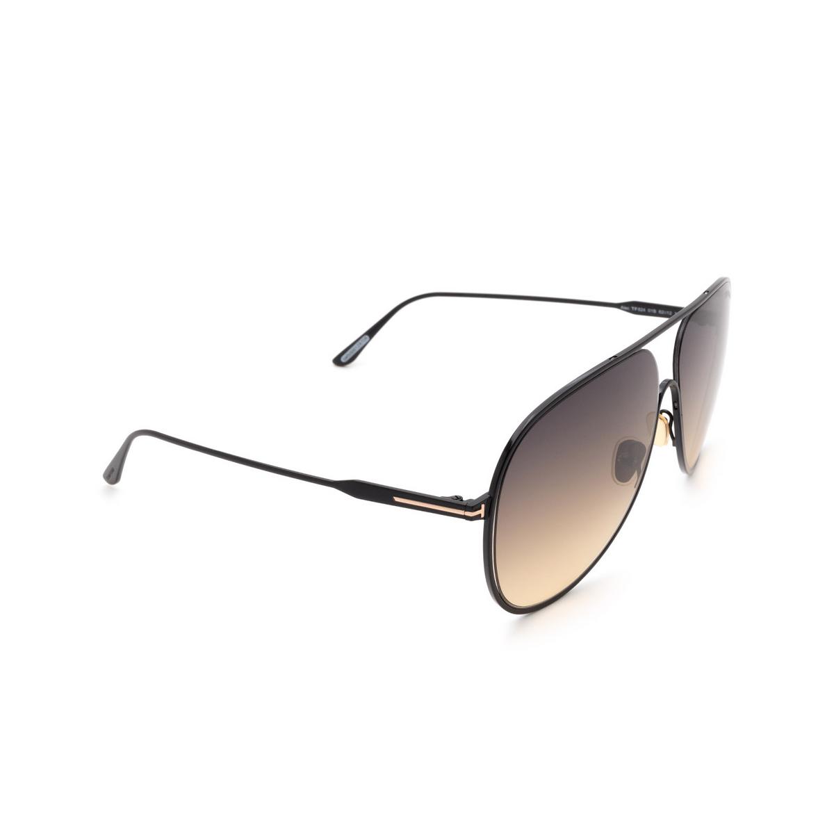 Tom Ford® Aviator Sunglasses: Alec FT0824 color Black 01B - three-quarters view.