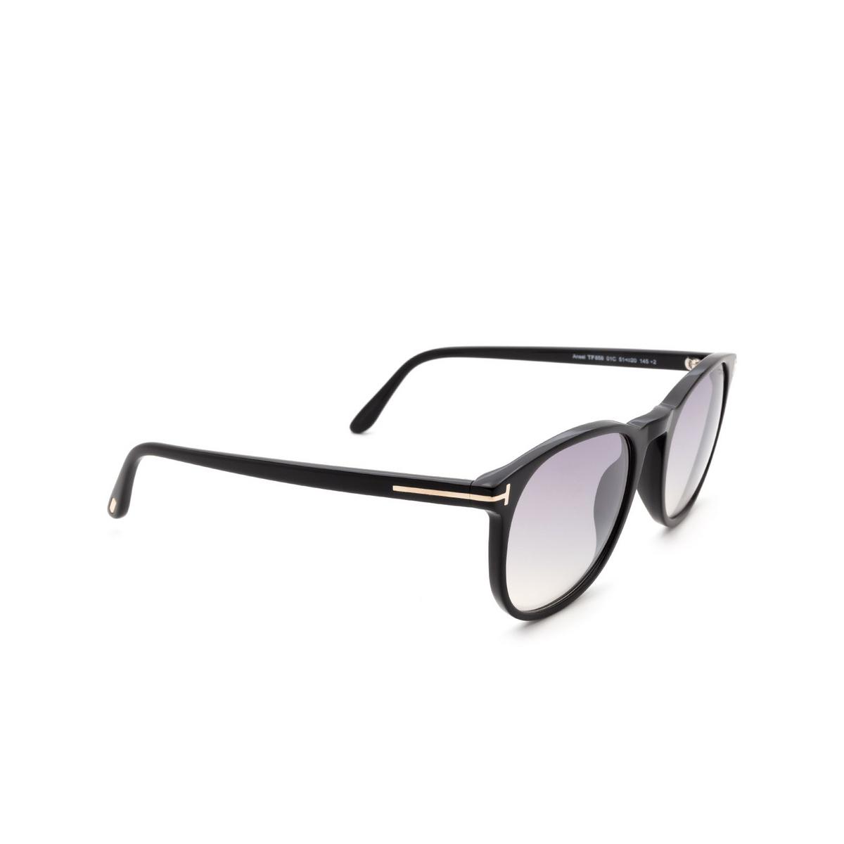 Tom Ford® Square Sunglasses: Ansel FT0858 color Black 01C - three-quarters view.