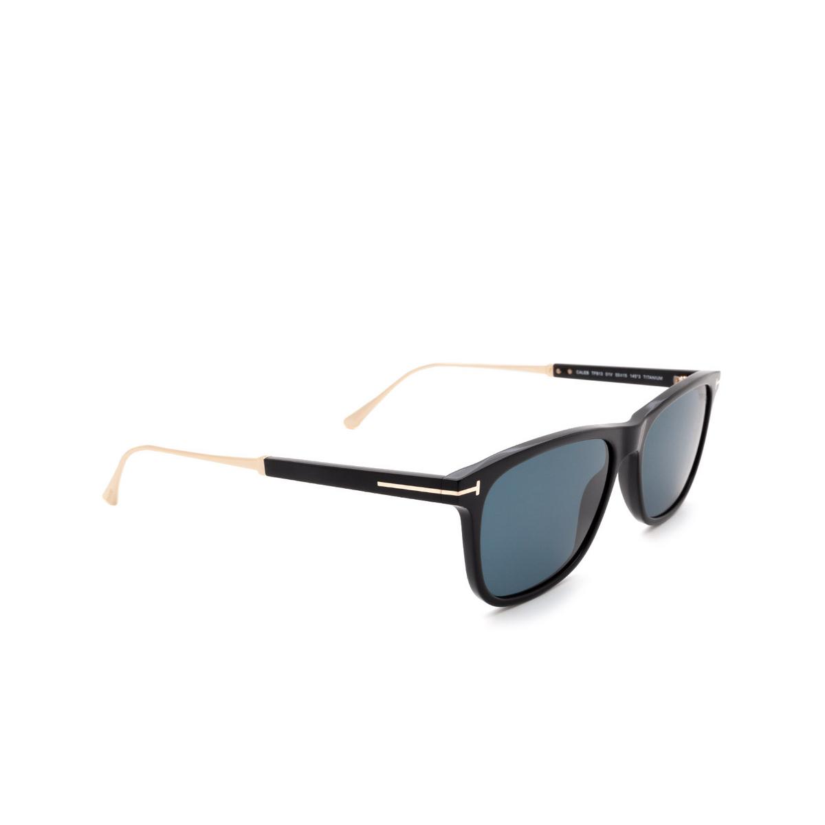 Tom Ford® Rectangle Sunglasses: Caleb FT0813 color Shiny Black 01V - three-quarters view.
